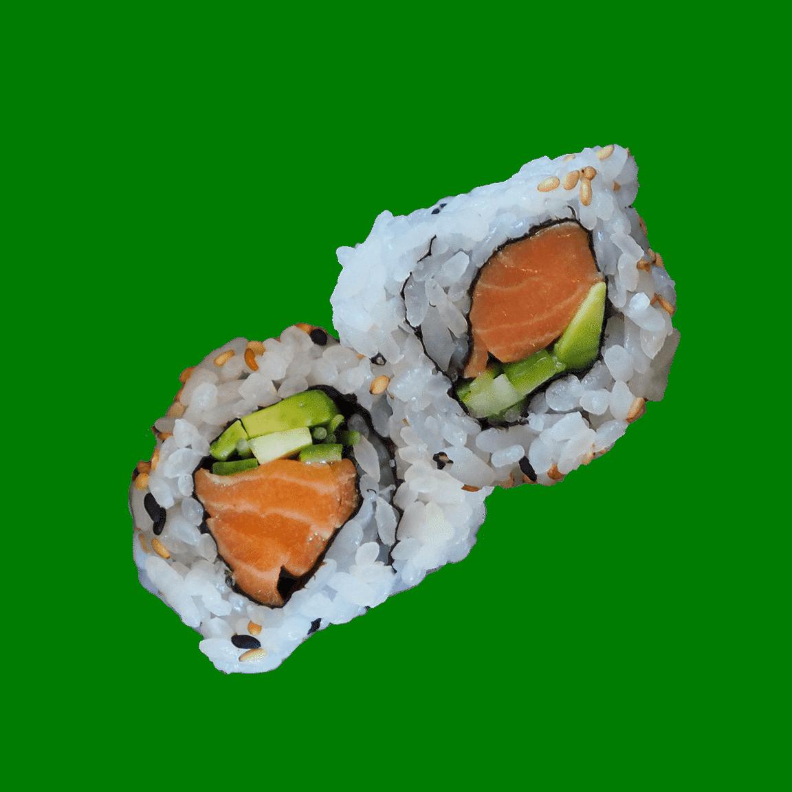 2 salmon sushi rolls