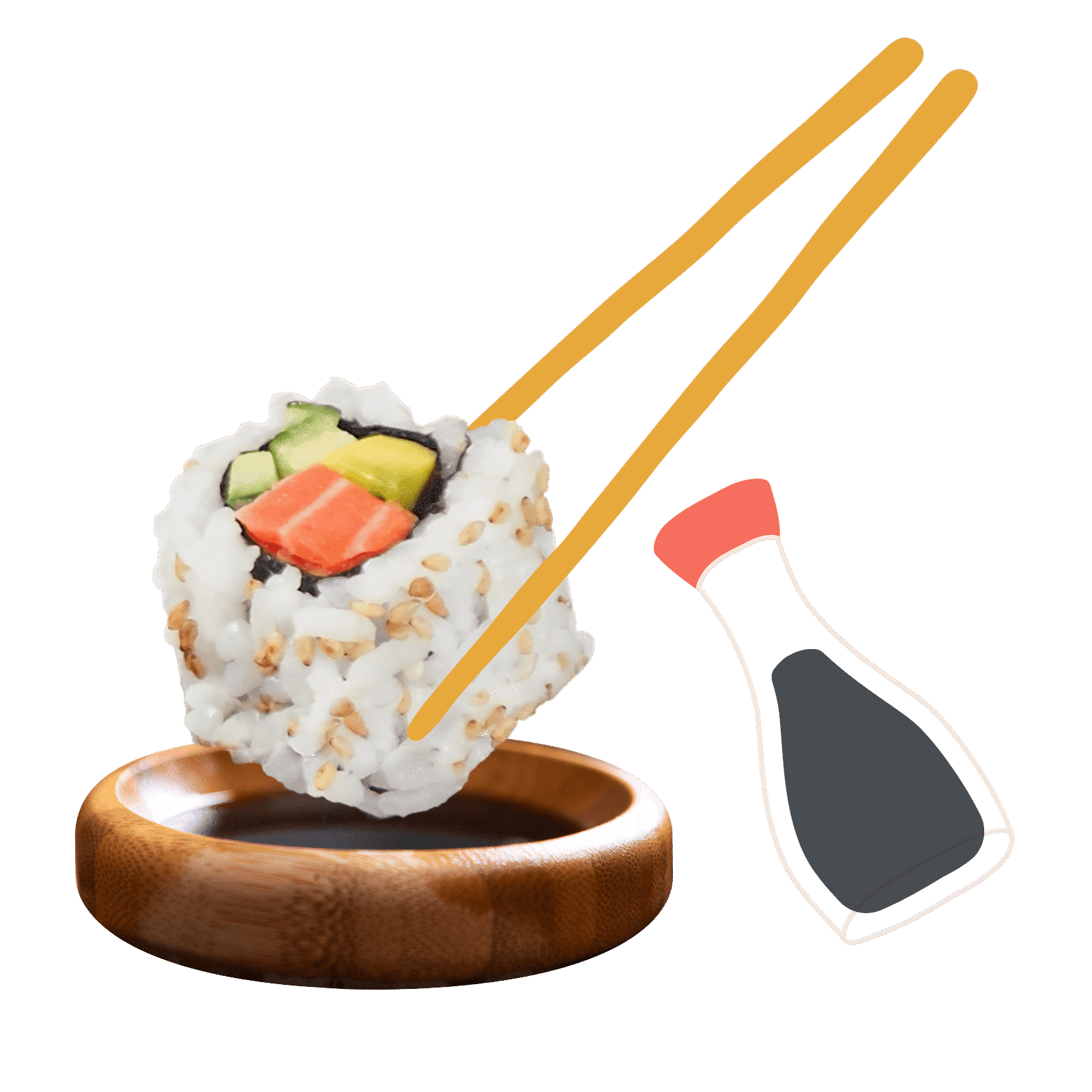 Sushi with chopstick and soy sauce illustration