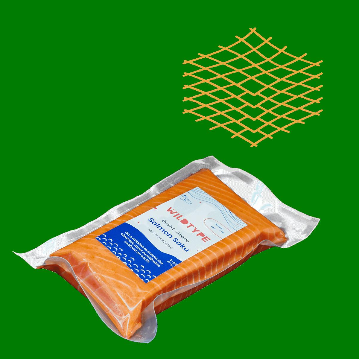 Salmon saku block packaged