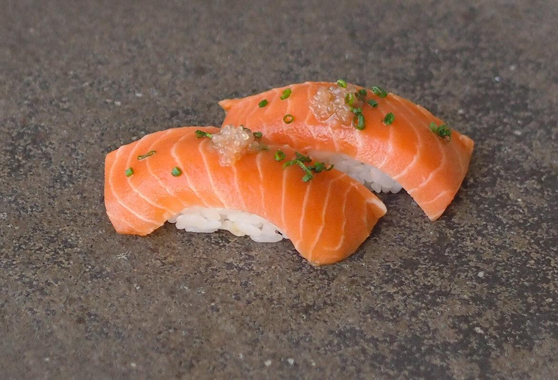 two piece salmon nigiri