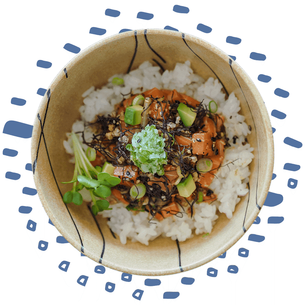 Salmon poke bowl with illustrations behind it