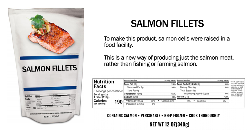 Sample package of salmon with nutrition facts