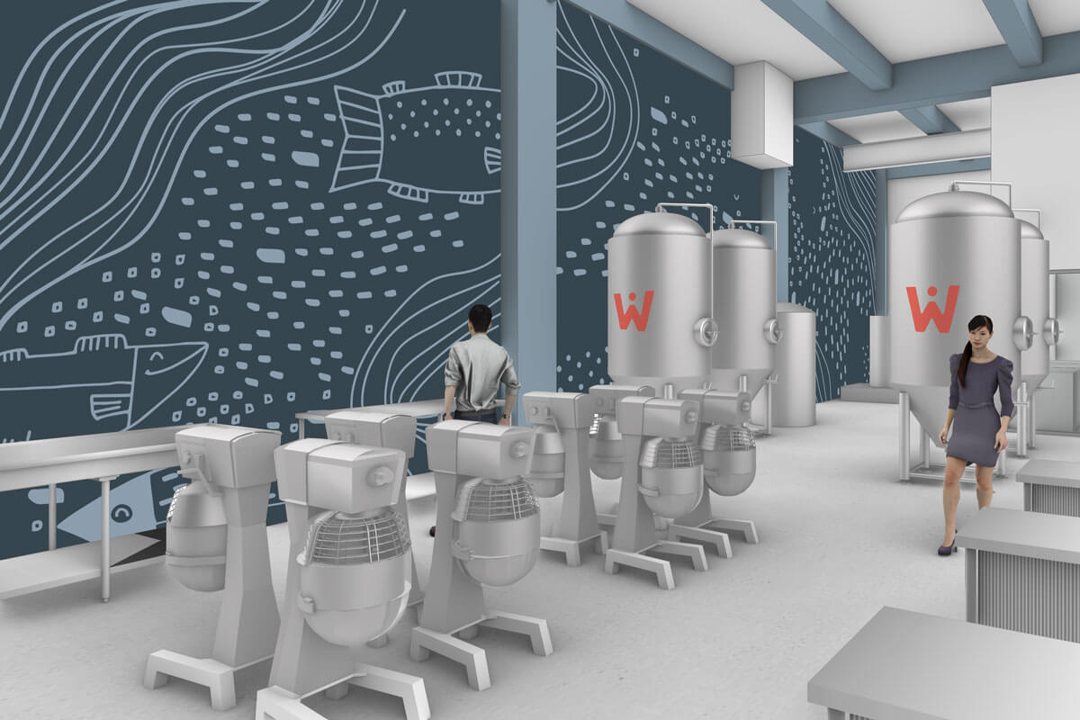 Facility rendering showing commercial mixers