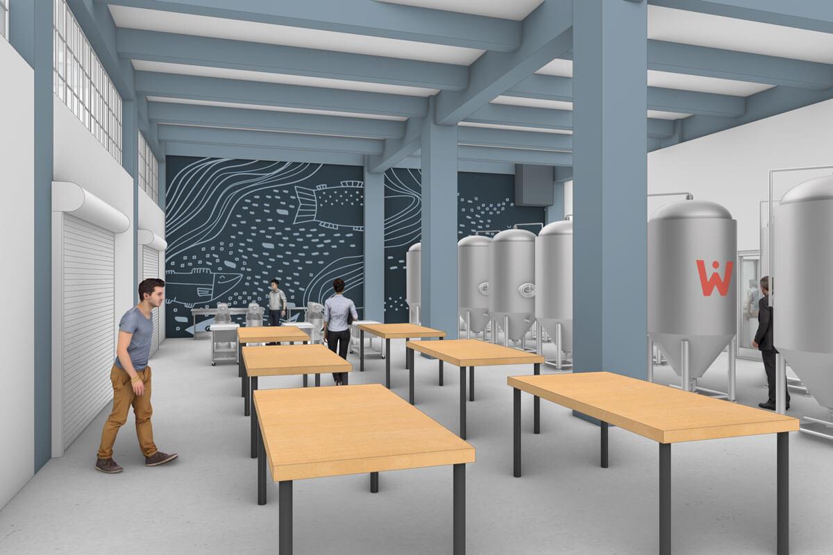 Pilot Plant rendering showing tables