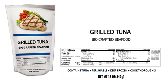 Packaging rendering of grilled tuna for a survey