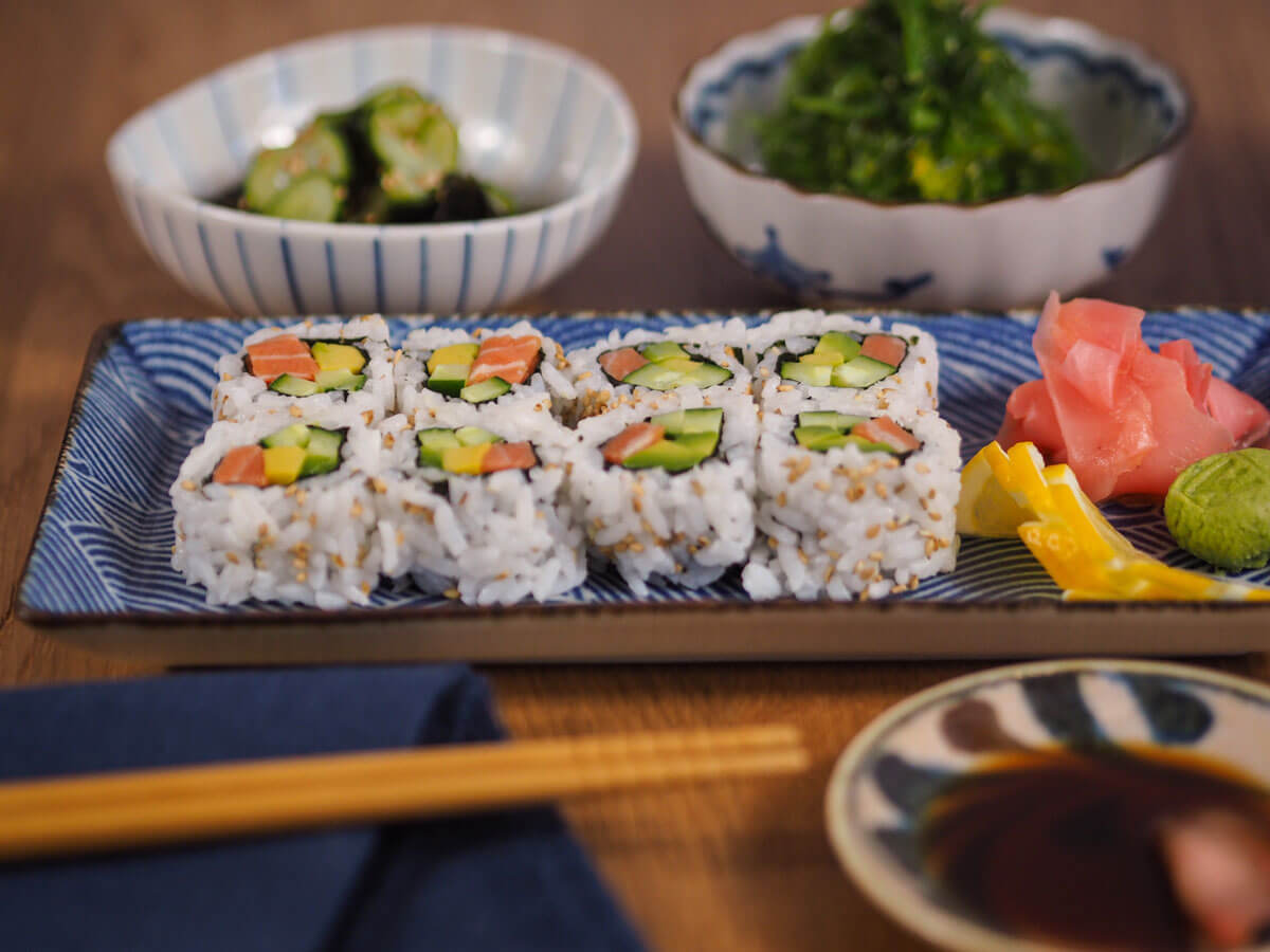 Sushi dinner on beautiful plates